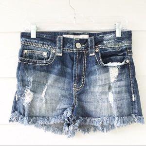 BKE Stella Denim Shorts Distressed Frayed Hem